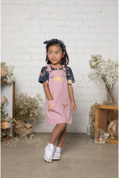 Picnic Embroidered Kids Pinafore