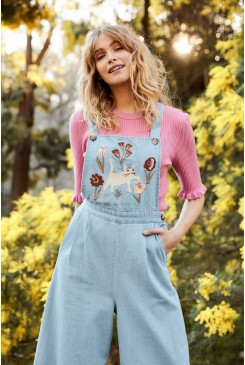 Fleur Embroidered Overalls