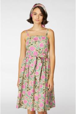 Pom Pom Flower Strap Dress