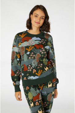 Woodland Bear Crew Sweater