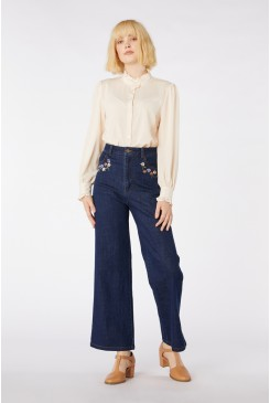 Flower Embroidered Jean