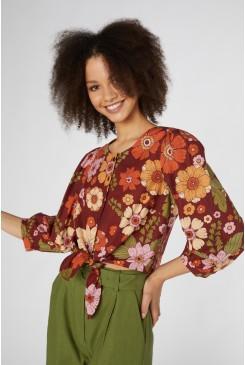 Brandy Floral Tie Blouse
