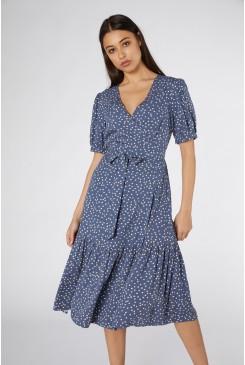 Olivia Spot Wrap Dress