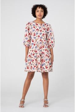 French Cherry Smock Dress