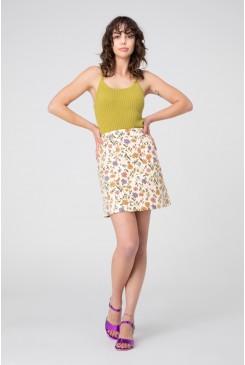Heather Ditsy Drill Mini Skirt